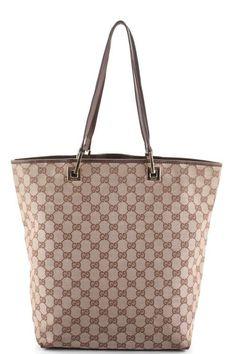 AUTH GUCCI Beige Brown Canvas Monogram Leather Trim Shopper Tote Handbag EVHB #Gucci #TotesShoppers