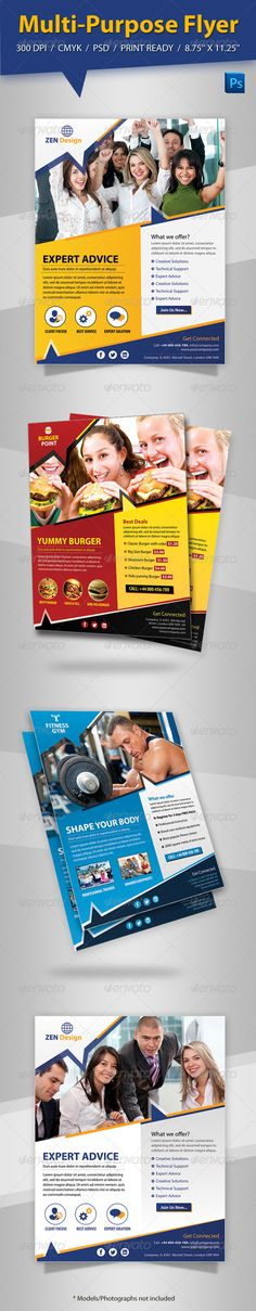 Multi-Purpose Flyer  #GraphicRiver         Multi-Purpose Flyer templates designed exclusively for corporate/Fast Food/Burger/Gym/Fitness or any other business of use. Fully editable, image/logo can be quickly added or replaced in smart objects. Easy to edit just find and replace image in the smart object layer, then edit the text. if you familiar with photoshop tools, you also can change color using layer option such as gradient/colour overlay.     Created: 4October13 GraphicsFilesIncluded…