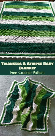 Triangles and Stripes Baby Blanket Free Crochet Pattern #crochetblanket #babyblanket #freecrochetpatterns