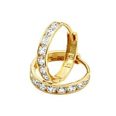 "14K Yellow Gold 3mm Thickness 8 Stone CZ Channel Set Medium Polished Hoop Huggies Earrings (0.6"" or 14mm) The World Jewelry Center, http://www.amazon.com/dp/B006JUTNY4/ref=cm_sw_r_pi_dp_Vxcbrb16129QC"
