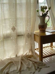 Vintage Cutwork lace decorated off White large Cotton Curtain Panel-A