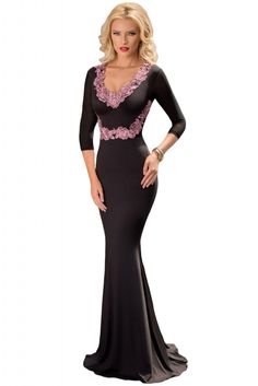Contrast Floral Applique Black Long Sleeve Party Dress 5681ed2ba1fe