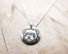 Tiny Ferret necklace - silver Ferret jewelry - pet memorial necklace - remembrance jewelry, $30.00