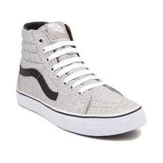 New Vans Sk8 Hi Glitter Skate Shoe Silver Black High Top Sparkle metallic Mens 9 | eBay