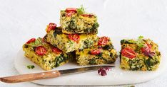 This healthy version of the family-favourite zucchini slice is loaded with quinoa zucchini and kale and makes a perfect vegetarian dinner or lunchbox filler. Zucchini Slice, Healthy Zucchini, Zucchini Quinoa, Diet Recipes, Vegetarian Recipes, Healthy Recipes, Savoury Recipes, Fun Recipes, Healthy Meals For Kids