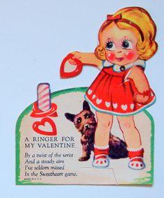 "Vintage Valentine Scottie Dog and LIttle Girl ""Love You, Sarah"""