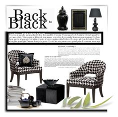 """Back to black"" by anna-survillo ❤ liked on Polyvore featuring interior, interiors, interior design, home, home decor, interior decorating, Anja, Erinn V. Home, Lite Source and Timorous Beasties"