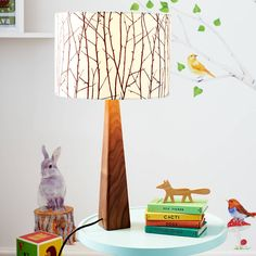 A lovingly handmade lamp and shade featuring woodland silhouette motif. Woodland Theme Bedroom, Woodland Room, Woodland Decor, Forest Bedroom, Woodland Fabric, Woodland Baby, Handmade Lamps, Wooden Lamp, Bedroom Themes