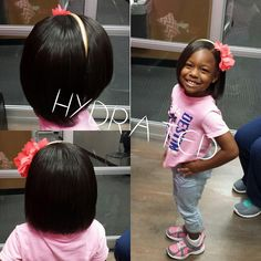 Silk press on natural hair for the little divas. Isn't she cute?!