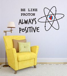 Vinyl Wall Decal Be Like Proton Always Positive Vinyl Wall Art Home Decor Office Wall Decal Inspirational Positive