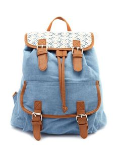 Lace Trim Canvas Backpack