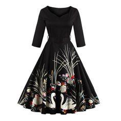 Vintage Printed Belted High Waist Dress (BLACK,M) in Vintage Dresses | DressLily.com