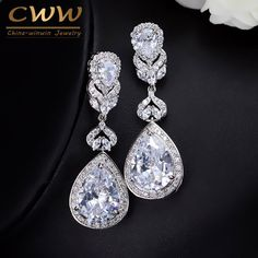 Elegant 5.2 cm Water Drop Shaped AAA  Cubic Zircon Created Diamond Crystal Bridal Long Earrings Wedding Jewerly For Brides CZ166