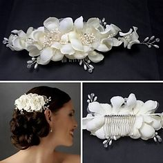 Women Bridesmaid Bridal White Flower Hair Comb Hairpins Wedding Hair Accessories Headpiece Veil Jewelry - New Site Wedding Party Hair, Wedding Hair Clips, Wedding Hair Flowers, Flowers In Hair, Flower Hair, Pearl Flower, Wedding Veil, Wedding Headdress, Floral Headdress