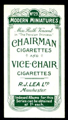 Cigarette Card Back - Lea's Chairmen Cigarettes | Flickr - Photo Sharing!