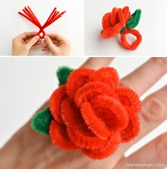 How to Make Pipe Cleaner Rose Rings – One Little Project Randy Stein Crafts misc. These pipe cleaner rose … Kinder Valentines, Valentine Crafts For Kids, Valentines Day Decorations, Pipe Cleaner Flowers, Pipe Cleaner Crafts, Pipe Cleaners, Easy Toddler Crafts, Valentine's Day Crafts For Kids, Crafts To Do