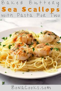 Baked Buttery Sea Scallops are big scallops baked in butter, white wine, lemon juice, Parmesan cheese, and garlic until perfectly tender. More Parmesan cheese is broiled on top and then these succulent scallops are served over a bed of tender pasta Pasta Recipes For Two, Meals For Two, Fish Recipes, Easy Dinner Recipes, Seafood Recipes, Breakfast Recipes, Cooking Recipes, Healthy Recipes, Seafood Meals