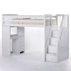With no bed under broom for a sitting Area like she wants. Schoolhouse Stairway Loft Bed - White Image 2