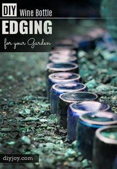 DIY Wine Bottle Crafts - Creative Do It Yourself Outdoor Garden Edging Made From Repurposed Wine Bottles
