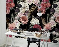 Dark Garden Wallpaper - fond d'écran amovible Roses - Decor - Sefl Adhesibe - revêtement mural - Prairie - repositionnable - murale #194