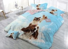 Cute cat and dog print duvet cover set #pet #blue #duvetcover #beddinginn Live a better life, start with Beddinginn http://www.beddinginn.com/product/Cute-Cat-And-Dog-Digital-Print-4-Piece-Cotton-Duvet-Cover-Sets-11347547.html