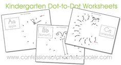 Kindergarten Dot-to-Dot Worksheets - Confessions of a Homeschooler