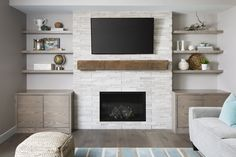 Great No Cost Fireplace Shelves floating Strategies Today is a little reunion of. - Great No Cost Fireplace Shelves floating Strategies Today is a little reunion of sorts because I' - Fireplace Feature Wall, Feature Wall Living Room, Fireplace Shelves, Fireplace Built Ins, Home Fireplace, Living Room With Fireplace, Fireplace Design, Fireplace Stone, Wood Shelves