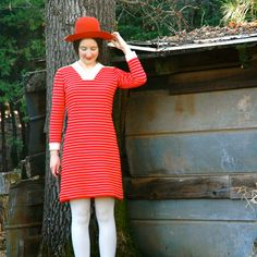 1960s Mod Dress Orange And White Striped Dress by AstralBoutique, $25.00