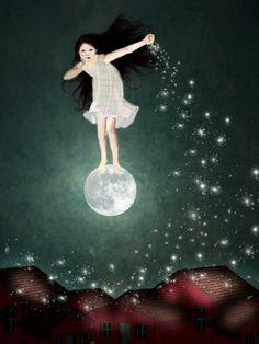 62 Ideas For Dancing Girl Illustration Night Sun Moon Stars, Sun And Stars, Tom Bagshaw, Illustrator, Moon Dance, Moon Pictures, Good Night Moon, Moon Magic, Beautiful Moon