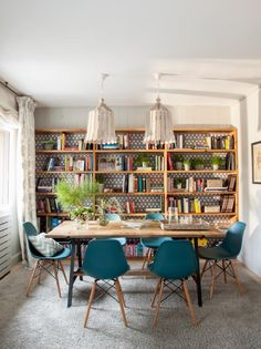 Formal dining room with bookshelf