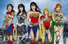 Donna Troy with Wonder Woman, Wonder Girl and other Amazons