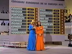 Anne Marie David, winner of the Eurovision Song Contest 1973 with presenter Helga Guitton