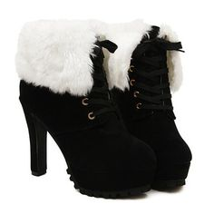 Fashion Women's Chunky Heel Short Boots With Solid Color and Fur $59.99 – PEDICURE & SHOES 2 GO, LLC