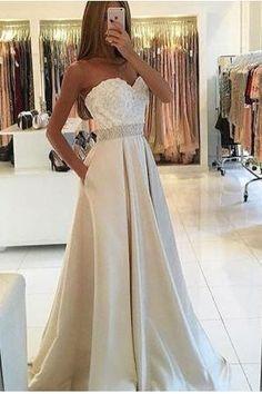 Sweetheart Prom Dresses, Ivory Prom Dress, A Line Prom Dresses,Charming Prom Dresses,Beading Evening Dress, Pocket Prom Gowns, Formal Women Dress,prom dress