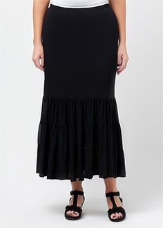 Womens Plus Size Skirts in Australia | Plus Size Denim Skirt - CONFECTION RUFFLE SKIRT - TS14