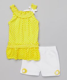 This Dreamstar Lemon Polka Dot Ruffle Tank & Shorts - Infant & Toddler by Dreamstar is perfect! #zulilyfinds