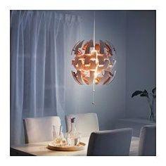 IKEA - IKEA PS 2014, Kattovalaisin, valkoinen/kupari, , Naruista vetämällä valon voimakkuutta on helppo säätää kirkkaasta yleisvalosta pehmeämmäksi tunnelmavaloksi.Heijastaa kauniin kuvion seinille ja kattoon.