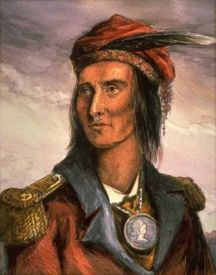 Tecumseh  March 1768 – October 5, 1813) was a Native American leader of the Shawnee and a large tribal confederacy (known as Tecumseh's Confederacy) which opposed the United States during Tecumseh's War and the War of 1812. Tecumseh has become an iconic folk hero in American, Aboriginal and Canadian history.    Tecumseh grew up in the Ohio Country during the American Revolutionary War