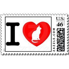 I Heart Cats Postage Stamps