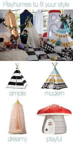 Add fun to your kids bedroom. Create a playspace anyplace with a teepee or playhouse. By choosing a playhouse that's both functional and chic, you can add interest to your living space, while also keeping the little ones busy. Diy And Crafts, Crafts For Kids, Deco Kids, Ideas Hogar, Thinking Day, My New Room, Play Houses, Kids Playing, Kids Bedroom