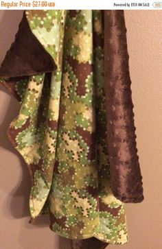 ON SALE Camo Baby Blanket Camouflage Baby by maddiekinsdesigns
