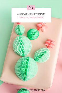 Kreative DIY Idee zum Geschenke einpacken: Geschenk einpacken mit Kaktus aus Wabenbällen | Idee zum kreativ Einpacken für Kaktus-Fans Packaging, Paper, Pretty, Art, Illustration, Inspiration, Paper Mill, Diys, Diy Creative Ideas