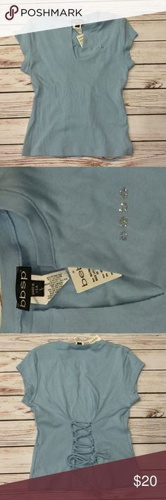 🆕 Bebe logo rhinestone tee shirt baby blue SZ L. NWT Bebe logo rhinestone tee shirt top, baby blue color, SZ L. Adjustable back lace up for a tailored hourglass fit, 100% cotton. SOLD OUT on line rear find from Bebe sport collection. bebe Tops Tees - Short Sleeve