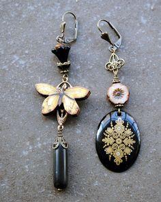 Asymmetrical earrings Mismatched Earrings Rustic Earrings