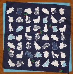 Small Size Navy Cotton '49 Rabbits' Furoshiki by kyotocollection, $8.00