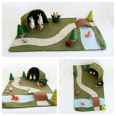 Landscape Playscape Play Mat - wool felt pretend play - cave river path bridge - storytelling fantasy storybook fafairytale - unisex toy by MyBigWorld2015 on Etsy
