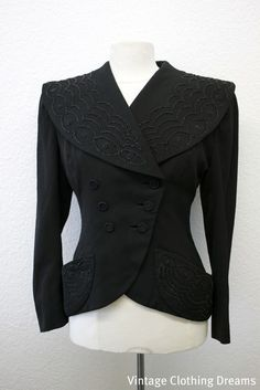 Vintage 1940s Jacket Coat 40s Beaded Black Jet Black Heavily Beaded Double Breasted Wasp Waist Ladies COUTURE Coat by Raymond Cooper by VintageClothingDream on Etsy https://www.etsy.com/listing/68331761/vintage-1940s-jacket-coat-40s-beaded