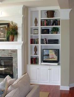 Built Ins Fireplace Bookcase In Cabinets Window Seat Living Room