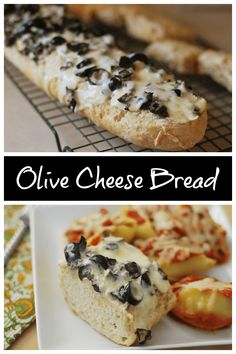 Olive Cheese Bread - French bread topped with a creamy, cheesy olive mixture and baked until the cheese melts and starts to brown. The perfect side dish for pasta night!