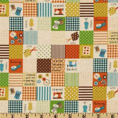 Kokka Trefle Cotton/Linen Canvas Sewing Blocks Orange Item Number: FK-706 On Sale: $13.99 per Yard.